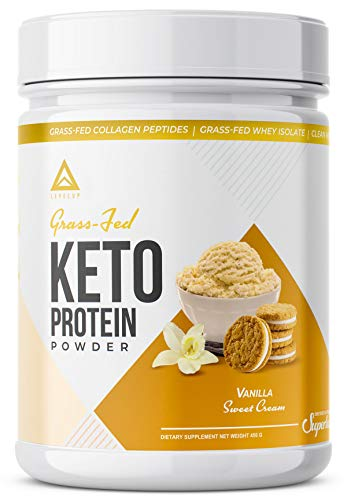 Grass Fed Keto Protein Powder: Collagen Peptides | Pure C8 Mct Oil | Irish Butter | Whey Protein Isolate | Best Ketogenic Protein Shake Supplement | By Levelup® (vanilla Sweet Cream)