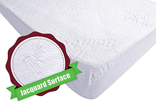 Iluvbamboo Crib Mattress Pad Protector Waterproof Cover – Silky Soft Bamboo Jacquard Fitted Topper Noiseless, Breathable & Smooth – Best Baby Gifts For Potty Training Toddlers & Infants
