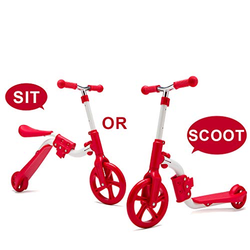Kamures 2 In 1 | 2 Wheels Kick Scooter With Removable Seat For Kids & Toddlers, Balance Bike, 3 Adjustable Height Kids Scooter, Best Birthday Gift For Baby Boys Girls Age 2 8 (red)