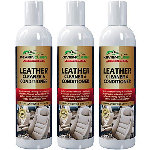 Kevianclean Leather Cleaner And Conditioner 16 Oz. (3 Pack) Best For Real, Genuine, Vegan, Pu & Faux Car Leather Ideal Treatment For Furniture, Sofa, Couch, Jacket, Handbag, Motorcycle & More