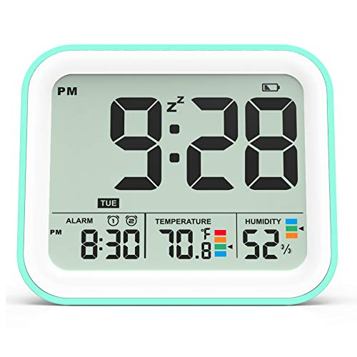 Kucoole Small Digital Cordless Battery Operated Alarm Clock, Best Travel Alarm Clock With Indoor Thermometer And Hygrometer, Dual Smart Alarm Clock For Kids, Teens, Bedrooms, Kitchen, Office Cyan
