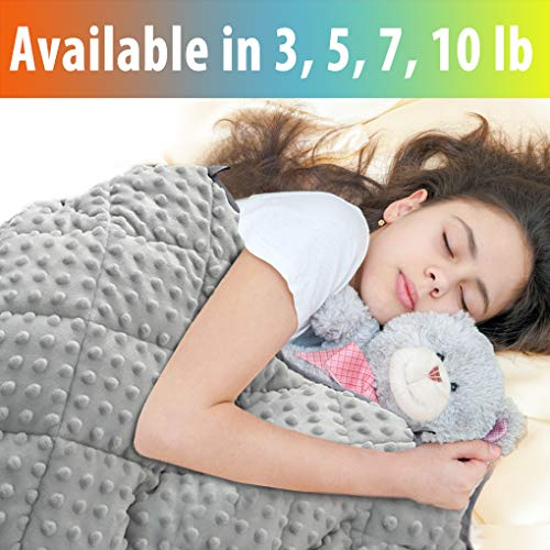 Maxtid Weighted Blanket For Kids 7 Lbs 41x60 Luxurious Kids Heavy Blanket With Glass Beads, Best For 60 80lb Children