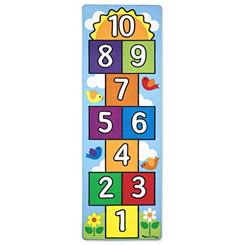 Melissa & Doug Hop & Count Hopscotch Rug (play Space & Room Decor, Sturdy Woven Floor Rug, Durable Materials, Skid Proof Backing, Great Gift For Girls And Boys Best For 3, 4, 5, 6, And 7 Year Olds)