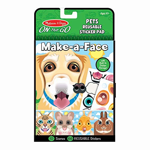 Melissa & Doug On The Go Make A Face Reusable Sticker Pad Travel Toy Activity Book – Pet Animals (10 Scenes, 65 Cling Stickers, Great Gift For Girls And Boys Best For 4, 5 And 6 Year Olds)