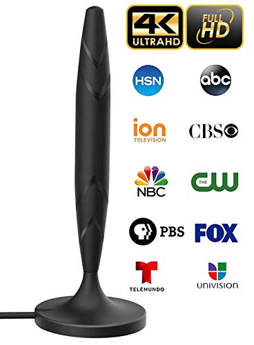 [newest 2020] Amplified 4k Full Hd Digital Indoor Smart Tv Antenna – 60 120 Miles Range Support 4k 1080p And Older Tv's Powerful Hdtv Best Amplifier Signal Booster – 9.8ft Coax Cable