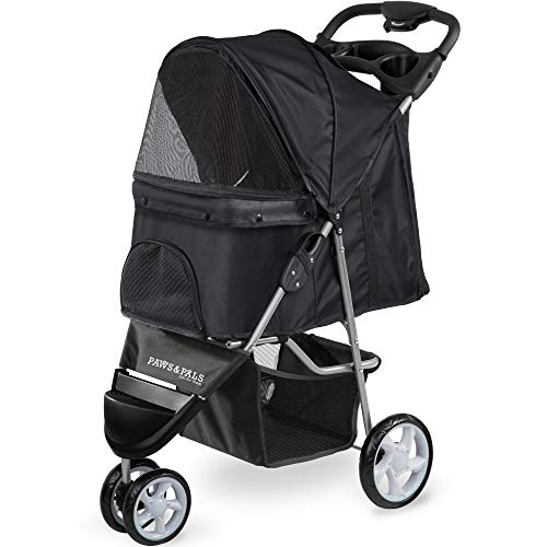 Paws & Pals Dog Stroller Pet Strollers For Small Medium Dogs & Cats 3 Wheeler Elite Jogger Carriages Best For Cat & Large Puppy Onyx Black