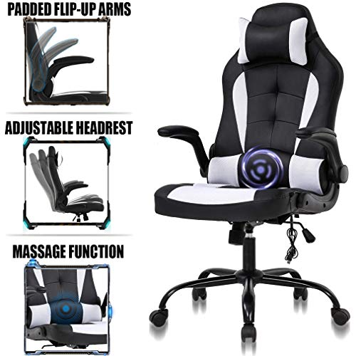 Pc Gaming Chair Ergonomic Racing Heavy Duty Office Chair Video Game Chair, Massage Function Lumbar Support With Flip Up Arms & Headrest Nice Chic Desk Chair, Adjustable Best Home Office Chair White