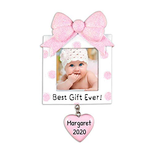 Personalized Present Picture Frame Christmas Tree Ornament 2019 Square Pink Glitter Best Baby's 1st Photo Display Ever Girl's First New Mom Shower Milestone Memory Gift Year Free Customization