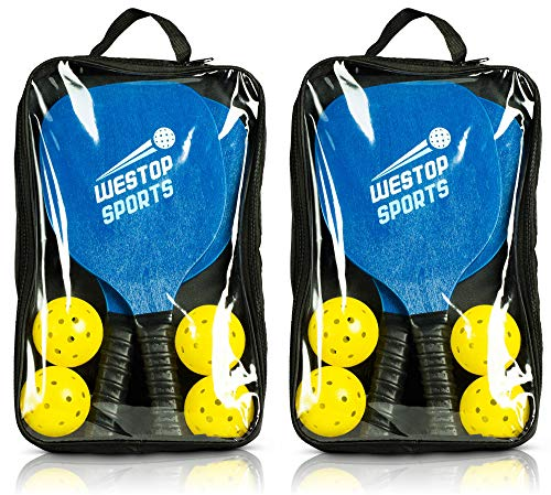 Pickleball Paddles Set Bundle Includes 4 Paddles, 8 Outdoor/indoor Balls, 2 Paddle Bags Wide Body & Upgraded Grip Meets Usapa Specs Best Set For Beginners Includes Ebook W/rules And Tips