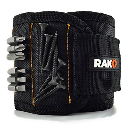 Rak Magnetic Wristband With Strong Magnets For Holding Screws, Nails, Drill Bits Best Unique Tool Gift For Men, Diy Handyman, Father/dad, Husband, Boyfriend, Him, Women (black)