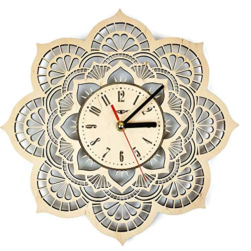 Shareart Mandala Flower Silent Wood Wall Clock Original Home Living Room Bedroom Kitchen Decor Best Birthday Gift For Friends Men Woman Unique Wall Art Design Size 12 Inch