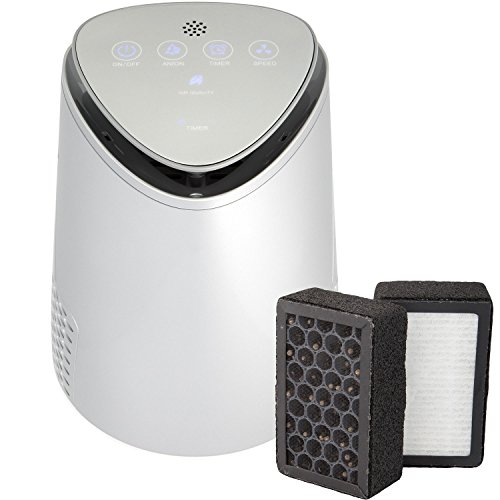 Silveronyx 3 In 1 Air Purifier For Home With True Hepa Carbon Filter, Uv Light, Ionizer. Best Air Cleaner For Allergies And Pets, Smoke, Dust, Mold, Smokers. Quiet Air Filtration 2 Speed. Silver