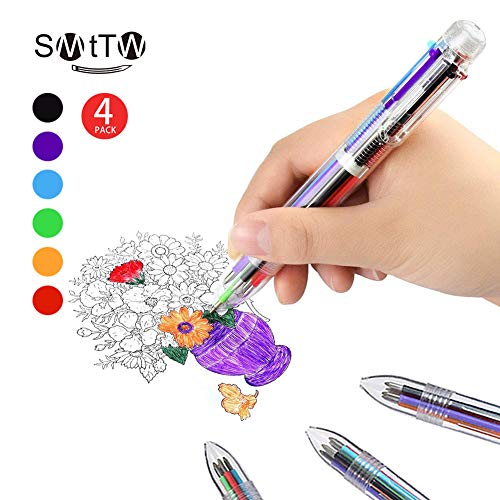 Smttw 4 Pack 0.5mm 6 In 1 Multicolor Ballpoint Pen Best For Smooth Writing Retractable Ballpoint Pens For Office School Supplies Students Children Gift