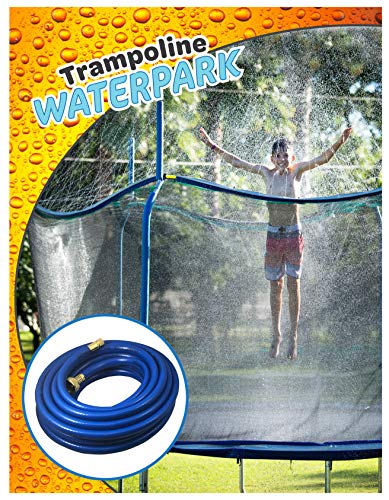 Trampoline Waterpark Heavy Duty Sprinkler Hose Fun Summer Outdoor Water Game Toys Accessories Best For Boys & Girls And Adults Made To Attach On Safety Net Enclosure Tool Free