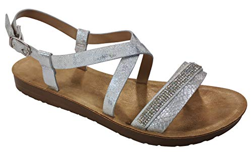 Travelnut Best Fancy Easter Dressy Shoes Sandals Quality Cushioned Metallic Strappy Walking Sandles Sandalia Comfy Heel Sandal Shoe For Sale Women Big Girls (silver Size 9)