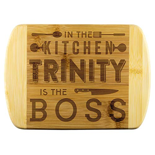 Unique Mothers Day Gifts In The Kitchen Trinity Is The Boss Funnyd Name Love Kitchen, Funny Kitchen Cutting Board, Bamboo Engraved Cutting Board, Best Gifts For Mom