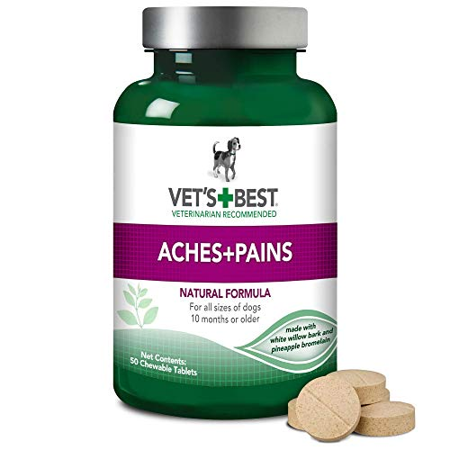 Vet's Best Aspirin Free Aches + Pains Dog Supplement   Vet Formulated For Dog Pain Support And Joint Relief   50 Chewable Tablets