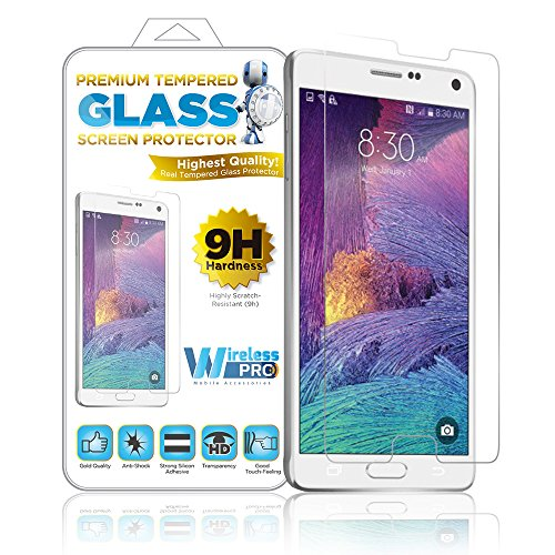 Wireless Pro Real Tempered Glass Premium Screen Protector 9h Highly Scratch Resistant Fingerprint Resistant & Anti Shock The Worlds Best & Easy To Install Samsung Galaxy Note 4