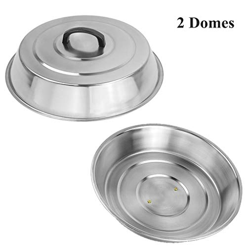 Zbxfcsh 2 Sets Bbq Accessories 12 Inch Round Stainless Steel Basting Cover Cheese Melting Dome And Steaming Cover, Best For Blackstone Camp Chef Flat Top Griddle Grill Cooking Indoor Or Outdoor