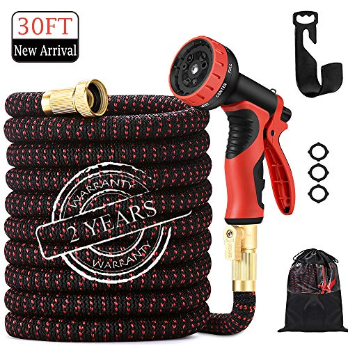30ft Garden Hose| 2020 Upgrade Expandable Water Hose| With9 Function Nozzle |leak Proof Lightweight Expanding Garden Water Hose| With Solid Brass Fittings| Best Choice For Watering And Washing.