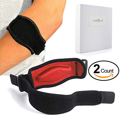 Aufgeld Tennis Elbow Brace (2 2 Pack) With Compression Recovery Pad For Men Women Best Tennis Golfer's Elbow Support Strap Band Relieves Tendonitis Epicondylitis Forearm Pain Relief, Wrist Sweatband