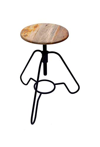 "Avyan Aari Furniture Modern 17"" Wooden Metal Bar Stool Metal Round Leg With Round Wood Seat 