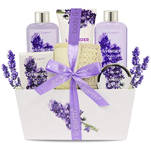 Bath Spa Gift Set, Body & Earth Gift Basket 6 Piece Lavender Scented Spa Basket Kits For Women, Contains Shower Gel, Bubble Bath, Body Lotion, Bath Salt, Body Scrub, Back Scrubber, Best Gift For Her