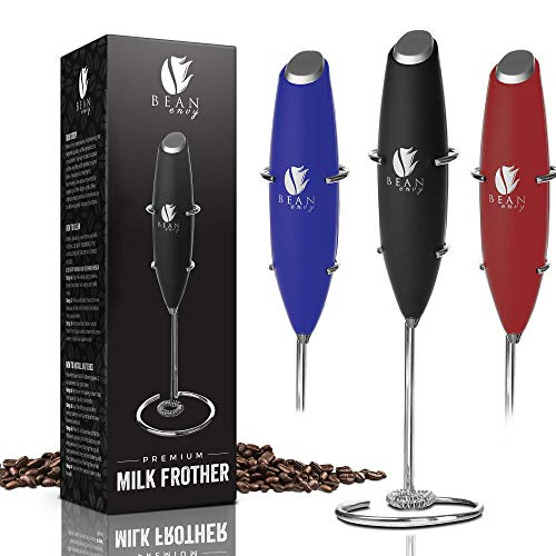 Bean Envy Milk Frother Handheld Perfect For The Best Latte Whip Foamer Includes Stainless Steel Stand Black