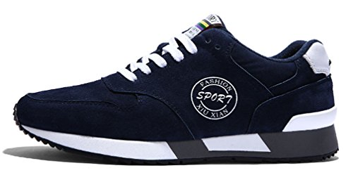 Best Balance Boys' Men's Running Shoes Leather Lace Up (6, Navy)