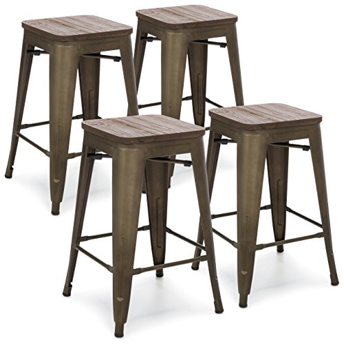 Best Choice Products 24in Set Of 4 Stackable Industrial Distressed Metal Counter Height Bar Stools W/wood Seat Copper