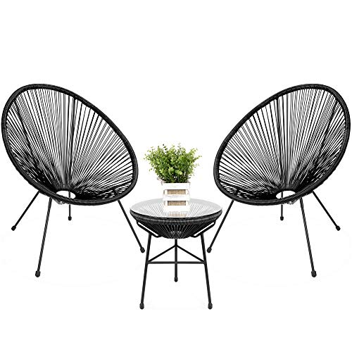 Best Choice Products 3 Piece Outdoor Acapulco All Weather Patio Conversation Bistro Set W/plastic Rope, Glass Top Table And 2 Chairs Black