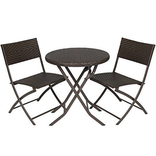 Best Choice Products 3 Piece Outdoor Patio Folding Rattan Hand Woven Bistro Set Furniture W/table, 2 Chairs Brown