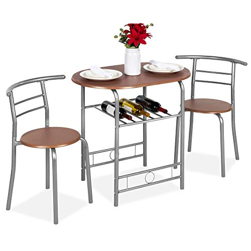 Best Choice Products 3 Piece Wooden Round Table & Chair Set For Kitchen, Dining Room, Compact Space W/steel Frame, Built In Wine Rack Espresso