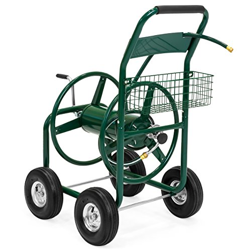 Best Choice Products 300ft Water Hose Reel Cart W/basket For Outdoor Garden, Heavy Duty Yard Water Planting Green