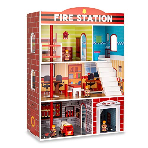 Best Choice Products 32in Kids Large Wooden 3 Story Model Fire Station Play Set Toy W/fire Engine, Helicopter, 14 Accessories, 5 Rooms