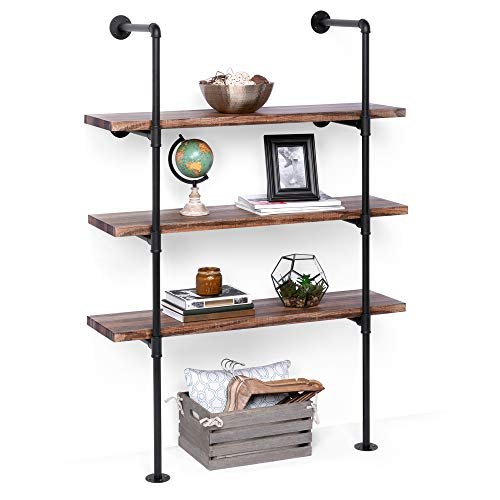 Best Choice Products 4 Tier Industrial Wall Mounted Iron Pipe Bracket Bookshelf Frame, Customizable Diy Shelving
