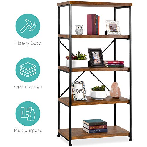 Best Choice Products 5 Tier Rustic Industrial Bookshelf Display Decor Accent W/metal Frame, Wood Shelves Brown