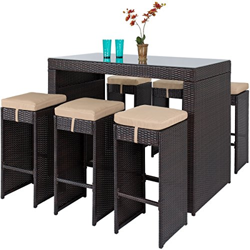 Best Choice Products 7 Piece Outdoor Rattan Wicker Bar Dining Patio Furniture Set W/glass Table Top, 6 Stools Brown
