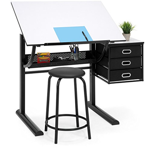 Best Choice Products Drawing Drafting Craft Art Table Folding Adjustable Desk W/stool Black/white