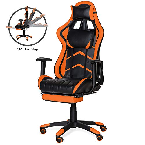 Best Choice Products Ergonomic High Back Executive Office Computer Racing Gaming Chair W/ 360 Degree Swivel, 180 Degree Reclining, Footrest, Adjustable Armrests, Headrest, Lumbar Support, Orange
