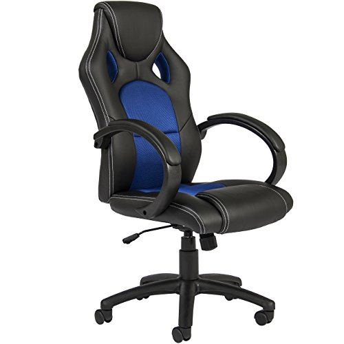 Best Choice Products Executive Racing Style Swivel Office Chair W/high Back Seat, Tilt & Height Adjustment Blue