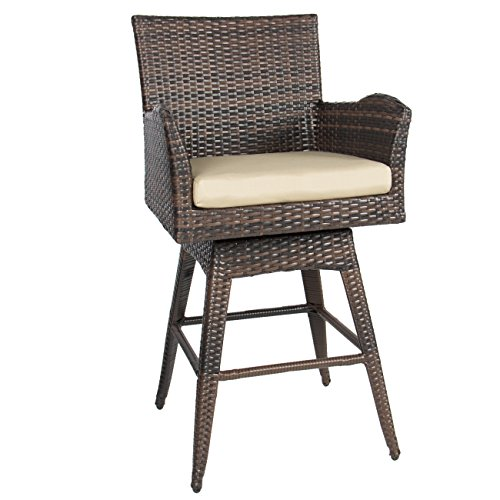 Best Choice Products Outdoor Patio Furniture All Weather Brown Pe Wicker Swivel Bar Stool W/cushion Brown