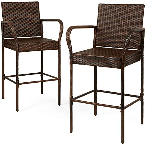 Best Choice Products Set Of 2 Indoor Outdoor Wicker Bar Stools Bar Chairs For Patio, Pool, Garden Brown