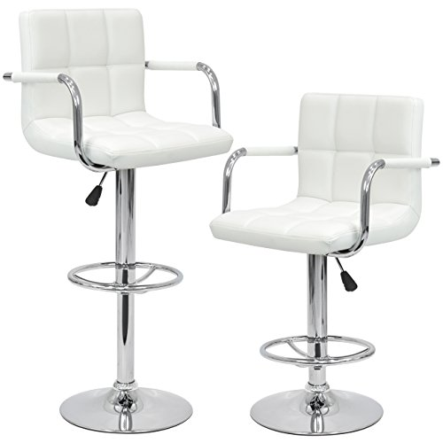 Best Choice Products Set Of 2 Swivel Hydraulic Height Adjustable Leather Pub Bar Stools Chair White
