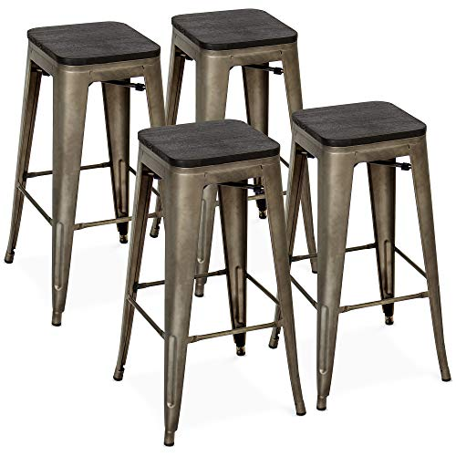 Best Choice Products Set Of 4 30in Industrial Stackable Backless Steel Bar Stools W/wood Seats Bronze