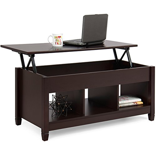 Best Choice Products Wooden Modern Multifunctional Coffee Dining Table For Living Room, Décor, Display W/hidden Storage And Lift Tabletop, Espresso