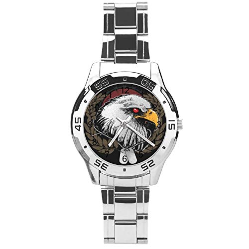 Classic Three Hand Quartz Watch With Stainless Steel Strap,dial Cool Eagle,adjustable Automatic Strap,silver,for Unisex,best Gift (41mm) L36n34h7dxms