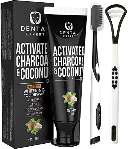 Dental Expert Activated Charcoal Teeth Whitening Toothpaste Destroys Bad Breath With Tongue Scraper Cleaner Best Natural Black Tooth Paste Kit Mint Flavor Removes Coffee Stains