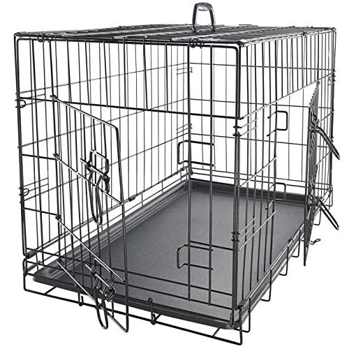 """Dog Crates For Medium Dogs Dog Crate 30"""" Pet Cage Double Door Best For Big Pets Wire Metal Kennel Cages With Divider Panel & Tray In Door Foldable & Portable For Animal Out Door Travel"""