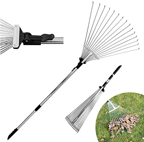 Dvcom 63 Inch Adjustable Garden Rake For Leaf Collect Loose Debris Among Delicate Plants Lawns And Yards, Best Expandable Head Rake For Leaves Small To Large Rake For Gardening